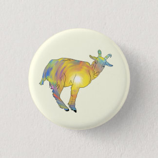 Bright Yellow Colourful Goat Funny Animal Design 3 Cm Round Badge