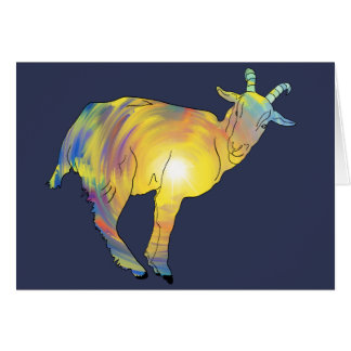 Bright Yellow colourful Goat Funny Animal Design Card