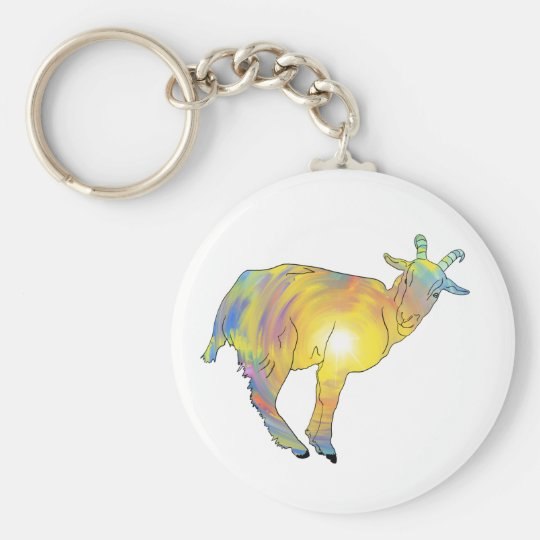 Bright Yellow colourful Goat Funny Animal Design Key