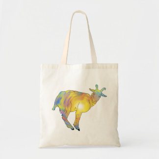 Bright Yellow colourful Goat Funny Animal Design Tote Bag