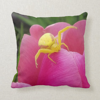 Bright Yellow Crab Spider on Pink Tulip Two Sided Cushion