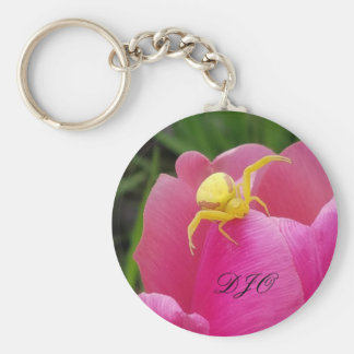 Bright Yellow Crab Spider  Pink Tulip initials Key Ring