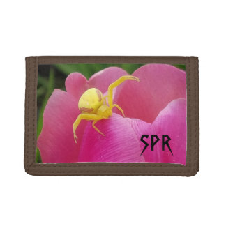 Bright Yellow Crab Spider  Pink Tulip initials Trifold Wallets