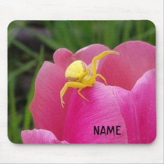 Bright Yellow Crab Spider  Pink Tulip Your Name Mouse Mat