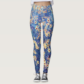 BRIGHT YELLOW DAISY FIELD by Slipperywindow Leggings