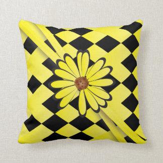 Bright Yellow Diamond Flowered Design Cushion