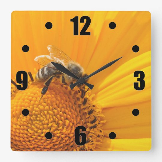 Bright Yellow Flower And Honey Bee Square Wall