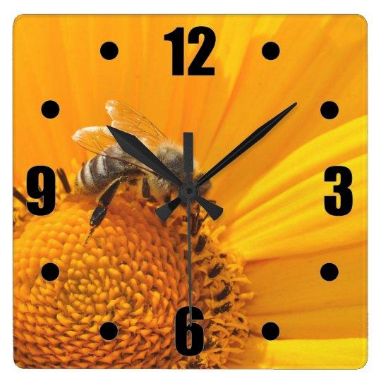 Bright Yellow Flower And Honey Bee Wall Clocks