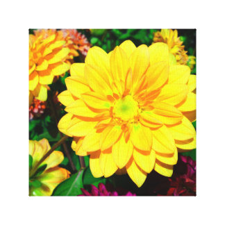 Bright Yellow Flower Canvas Gallery Wrapped Canvas