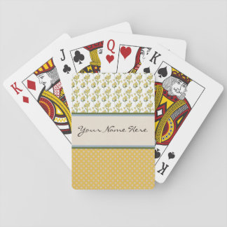 Bright Yellow Flowers on Polka Dots Poker Deck