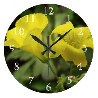 Bright Yellow Flowers Wall Clocks