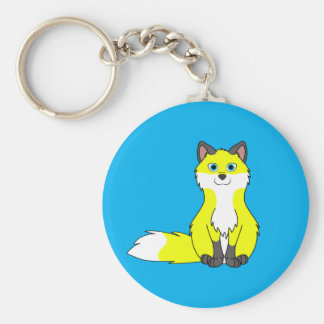 Bright Yellow Fox Kit with Dark Markings Basic Round Button Key Ring