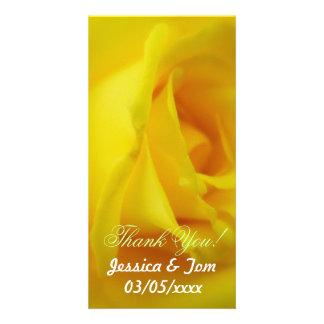 Bright Yellow Glowing Rose Wedding Customised Photo Card