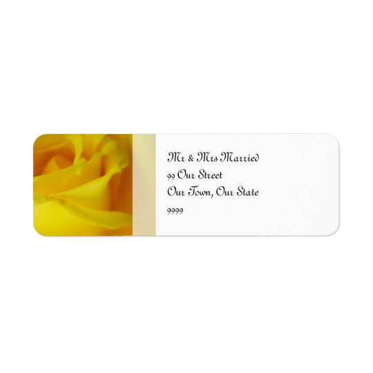 Bright Yellow Glowing Rose Wedding Return Address Label