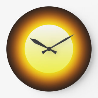 Bright Yellow Glowing Sun on Black Large Clock