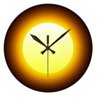 Bright Yellow Glowing Sun on Black Wall Clocks