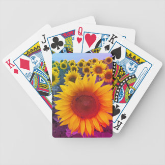 Bright Yellow Gold Floral Sunflowers Playing Cards