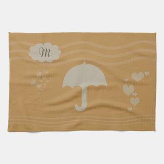 Bright Yellow Gray Umbrella Hearts Rain Tea Towel
