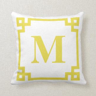 Bright Yellow Greek Key Border Monogram Throw Pillow