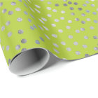 Bright Yellow Green and Silver Glitter City Dots Wrapping Paper