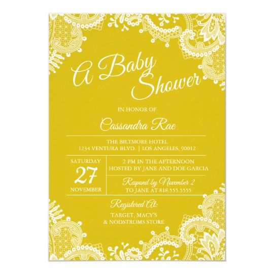 Bright Yellow Lace Baby Shower Invitation