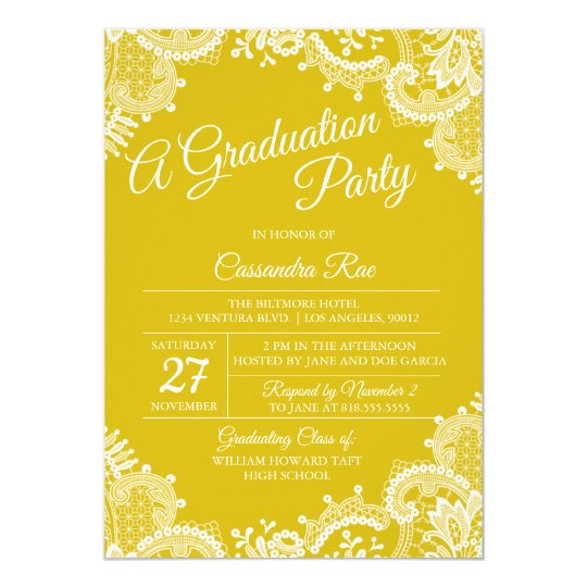 Bright Yellow Lace Graduation Party Invitation