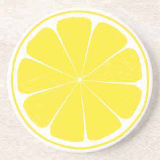 Bright Yellow Lemon Citrus Fruit Slice Coaster
