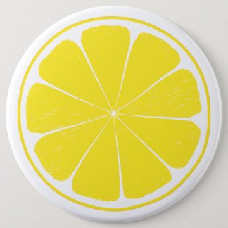 Bright Yellow Lemon Citrus Fruit Slice Design 6 Cm Round Badge