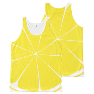 Bright Yellow Lemon Citrus Fruit Slice Design All-Over Print Tank Top