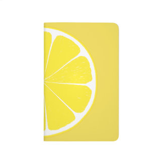Bright Yellow Lemon Citrus Fruit Slice Design Journals