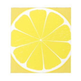 Bright Yellow Lemon Citrus Fruit Slice Design Notepad