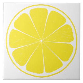 Bright Yellow Lemon Citrus Fruit Slice Design Tile