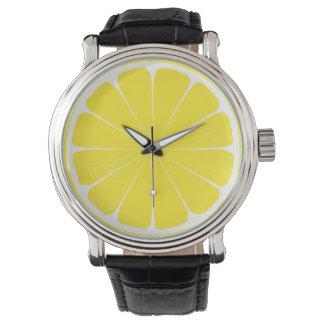 Bright Yellow Lemon Citrus Fruit Slice Design Wristwatches