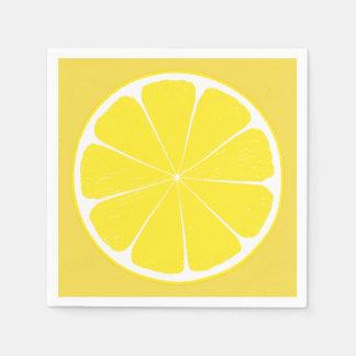 Bright Yellow Lemon Citrus Fruit Slice Napkin Disposable Serviette