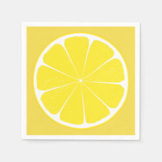 Bright Yellow Lemon Citrus Fruit Slice Napkin Paper Napkin