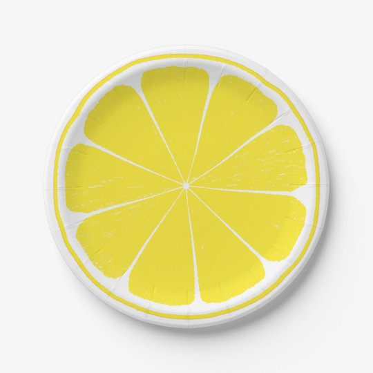 Bright Yellow Lemon Citrus Fruit Slice Paper Plate