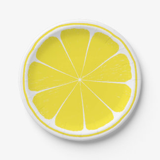 Bright Yellow Lemon Citrus Fruit Slice Paper Plate 7 Inch Paper Plate