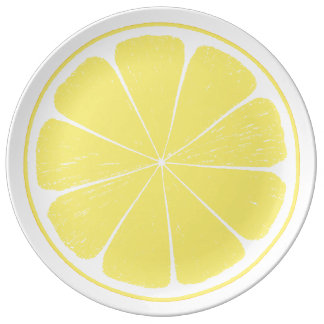 Bright Yellow Lemon Citrus Fruit Slice Plate