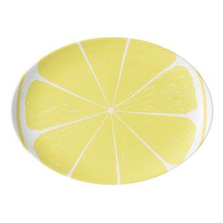 Bright Yellow Lemon Citrus Fruit Slice Platter Porcelain Serving Platter