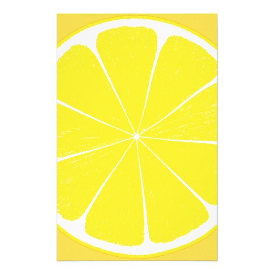 Bright Yellow Lemon Citrus Fruit Slice Stationery