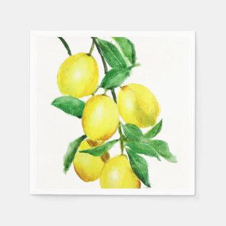 bright yellow lemon paper serviettes