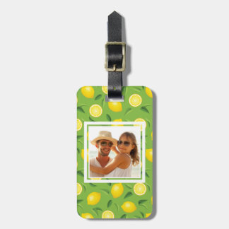 Bright Yellow Lemon Pattern | Add Your Photo Luggage Tag