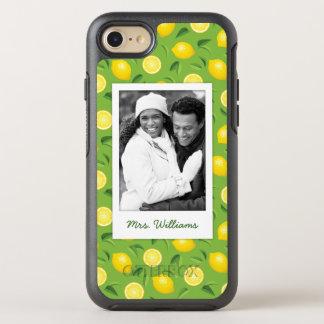 Bright Yellow Lemon Pattern | Add Your Photo OtterBox Symmetry iPhone 8/7 Case