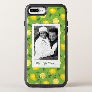 Bright Yellow Lemon Pattern | Add Your Photo OtterBox Symmetry iPhone 8 Plus/7 Plus Case