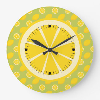 Bright Yellow Lemons and Slices Large Clock