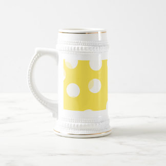 Bright yellow, light yellow, white spotty pattern. beer steins
