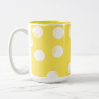 Bright yellow, light yellow, white spotty pattern. mugs