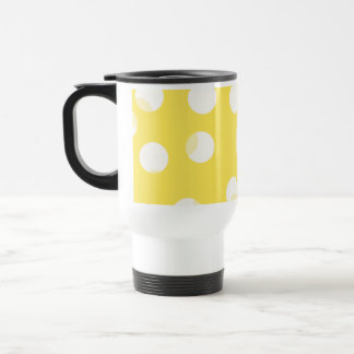 Bright yellow, light yellow, white spotty pattern. coffee mugs