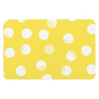 Bright yellow, light yellow, white spotty pattern. rectangular photo magnet