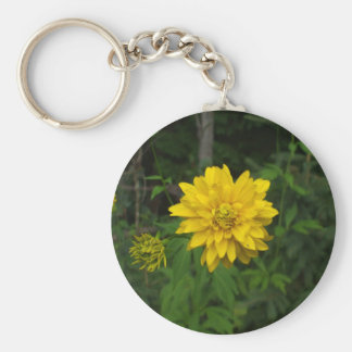 Bright Yellow Marigold  Flower Key Ring